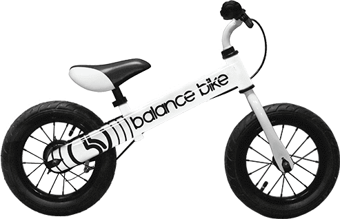 white kids metal balance bike